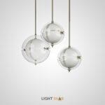 Подвесной светильник Affsen с шарообразным двойным плафоном и латунной фурнитурой