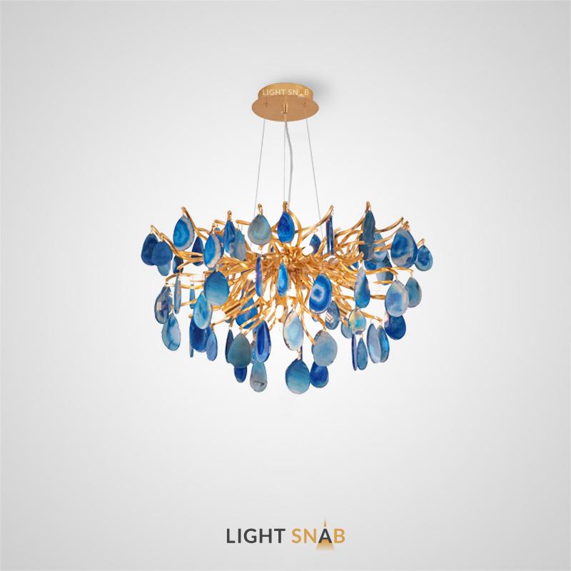 Дизайнерская люстра Agate Blue на струнном подвесе с подвесками из натурального бразильского агата