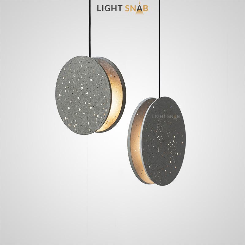Дизайнерский подвесной светильник Akvilon с плафоном в виде двух светопропускающих бетонных дисков