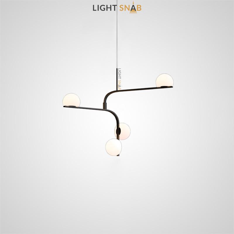Дизайнерский подвесной светодиодный светильник Arcanum Angle с белыми матовыми плафонами округлой формы на угловых рейках