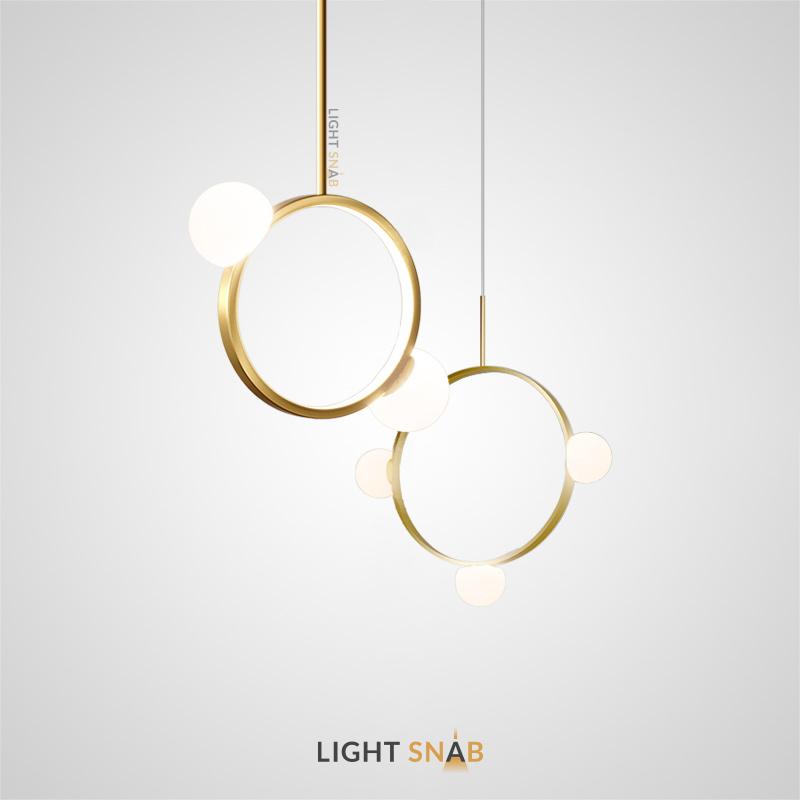 Подвесной светильник Arcanum Ring с белыми матовыми плафонами на кольцевом каркасе с LED-свечением