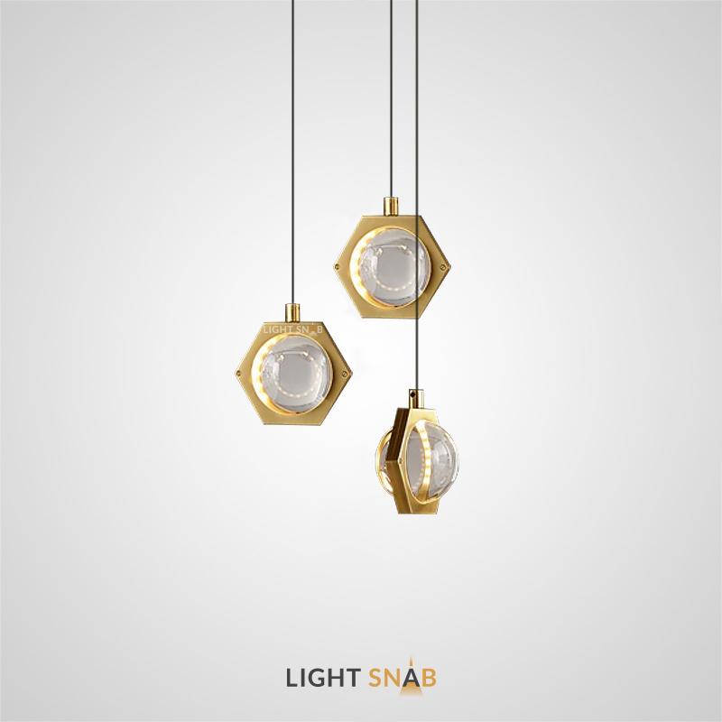 Подвесной светодиодный светильник Avant с шарообразным хрустальным плафоном в металлическом шестиграннике