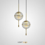 Подвесной светодиодный светильник Aviate с металлическим латунным плафоном внутри стеклянного шара