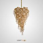 Люстра Avolo Gold с абажуром из фигурных стеклянных подвесок янтарного оттенка