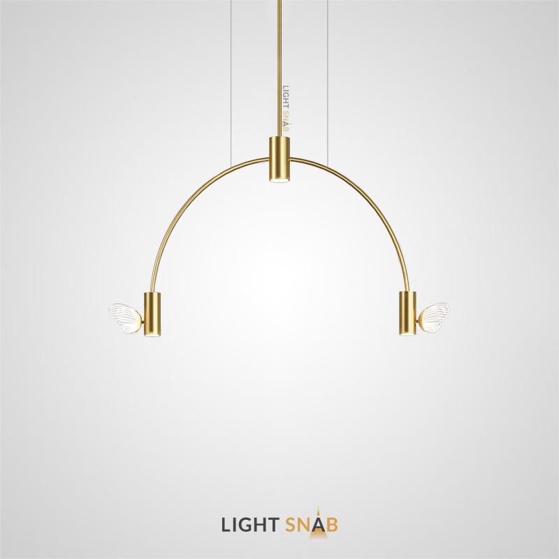 Светодиодный светильник Babetta Arc с цилиндрическими плафонами и декоративными светящимися бабочками на дугообразной рейке