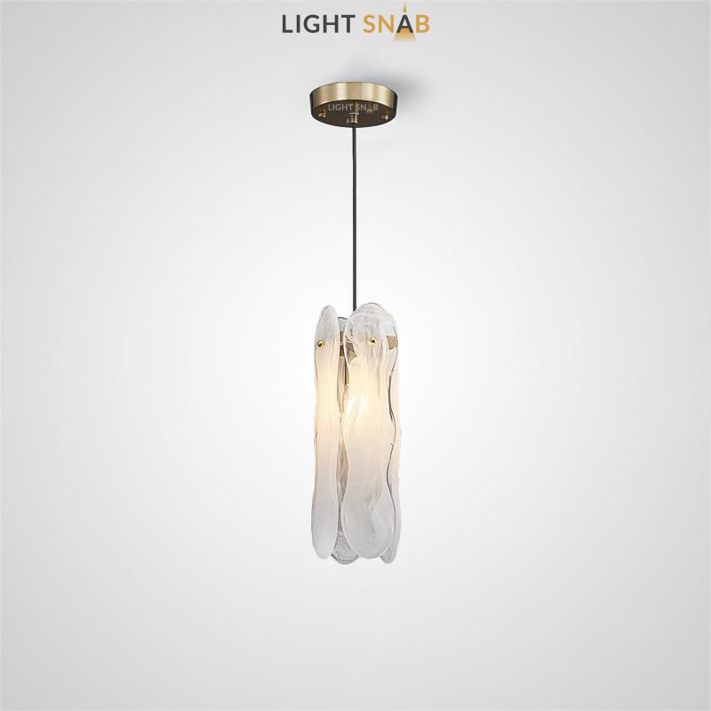 Подвесной светильник Belinda с прямоугольным абажуром из фигурных стеклянных пластин с эффектом «Белый дым»