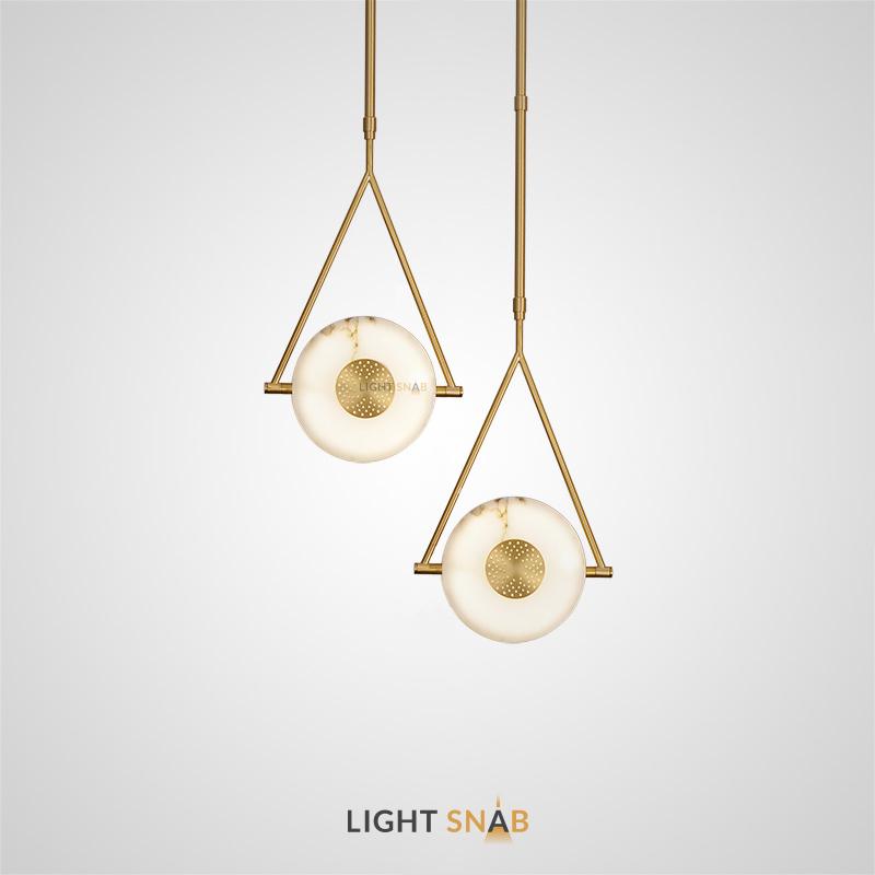 Дизайнерский светильник Beth с дискообразным мраморным плафоном в треугольной рамке из металла