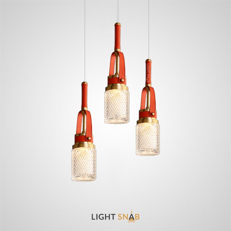 Подвесной светодиодный светильник Chara с рельефным цилиндрическим плафоном на кожаном ремешке