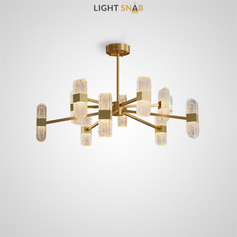 Светодиодная люстра Charlin Ch на лучевом каркасе с поворотными плафонами в виде рельефных слитков