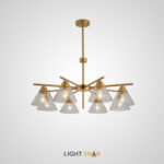 Люстра Chisa 8 ламп. Каркас золото. Плафон прозрачный