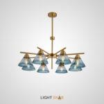 Люстра Chisa 8 ламп. Каркас золото. Плафон синий градиент