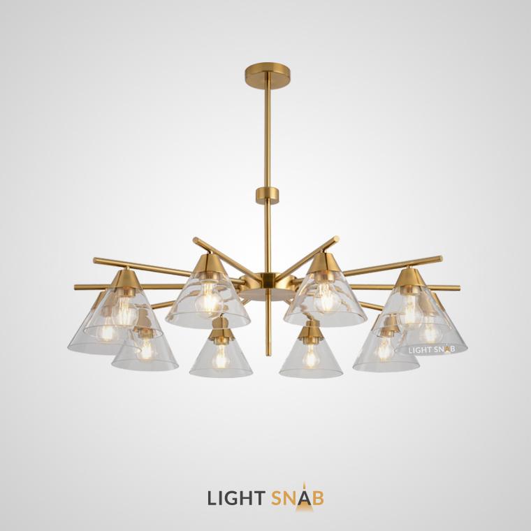Люстра Chisa 10 ламп. Каркас золото. Плафон прозрачный