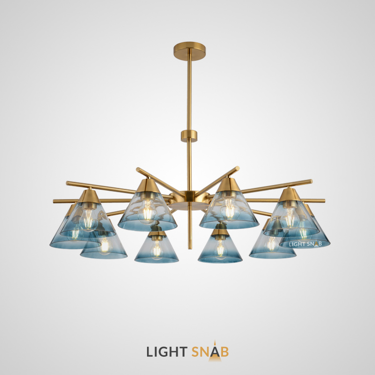 Люстра Chisa 10 ламп. Каркас золото. Плафон синий градиент