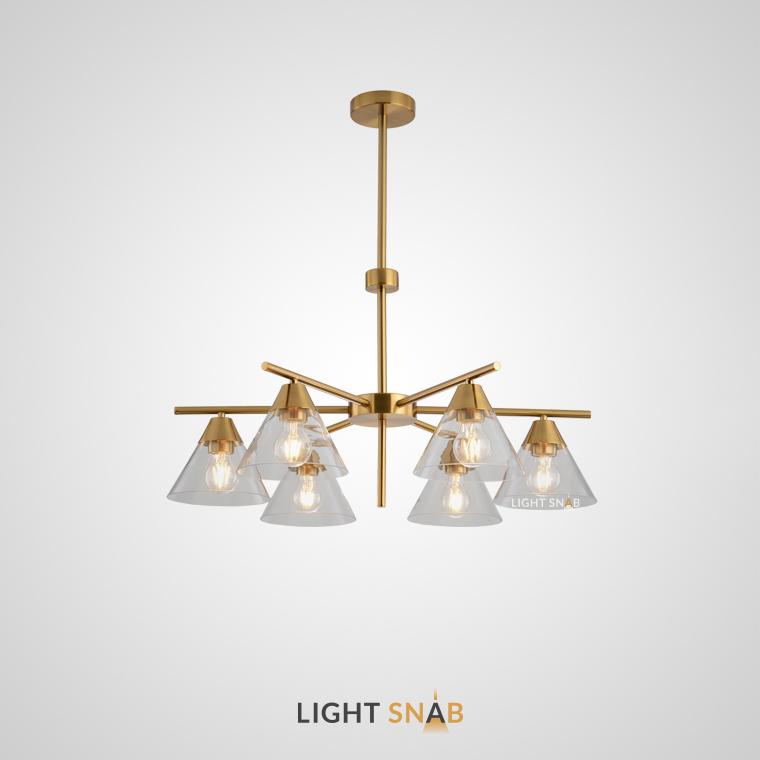 Люстра Chisa 6 ламп. Каркас золото. Плафон прозрачный