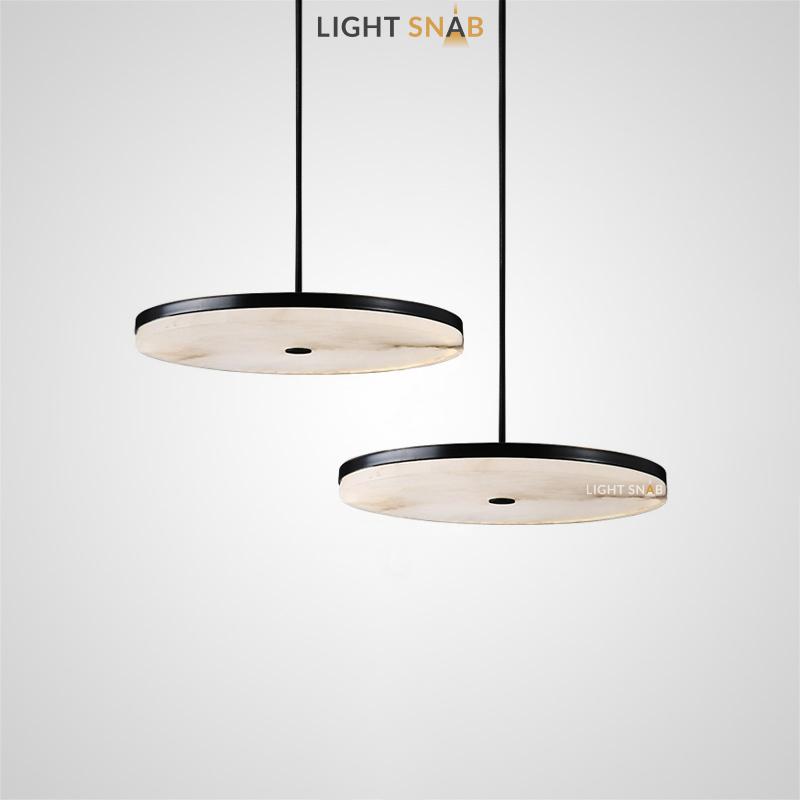 Дизайнерский светодиодный светильник Coal с тонким мраморным плафоном в форме диска