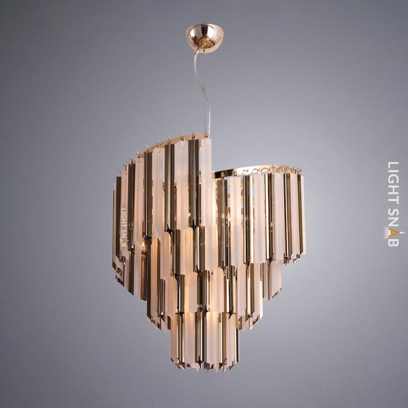 Люстра Compar со спиралевидным абажуром из свободно свисающих декоративных элементов из натурального хрусталя