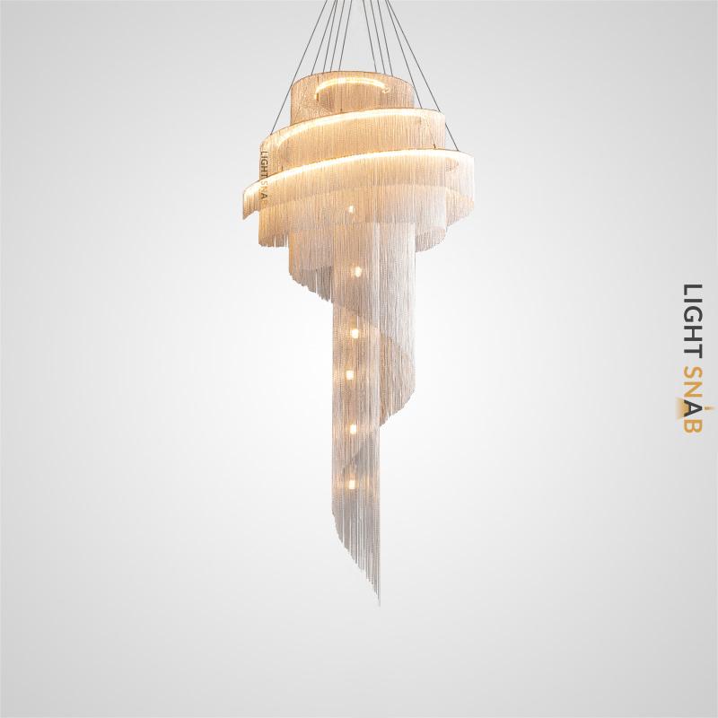 Люстра Concordia Gold со спиралевидным абажуром из множества хромированных цепочек разной длины с LED-свечением по контуру