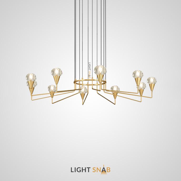 Люстра Creil 10 ламп. Цвет латунь