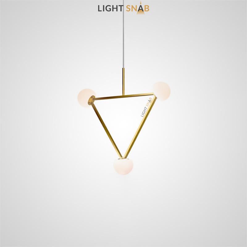 Подвесной светильник Duchess с белыми плафонами округлой формы на металлическом каркасе треугольной формы