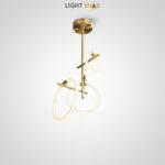Дизайнерский светодиодный светильник Elkhart с плафонами в форме колец разного диаметра на горизонтальных рейках