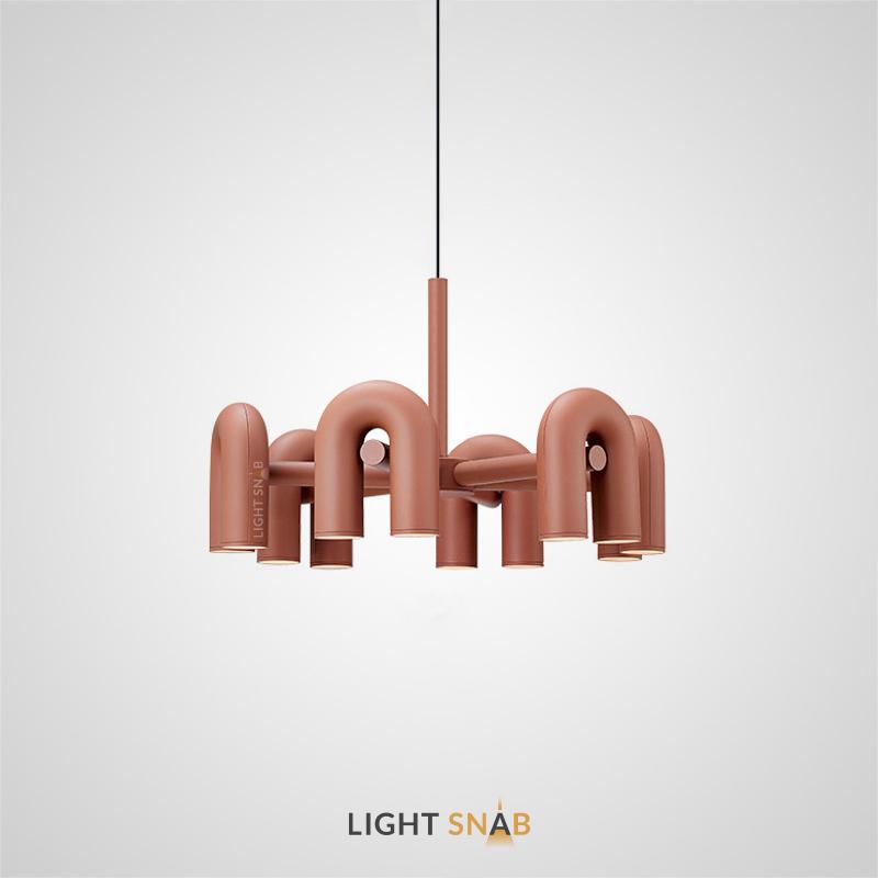 Дизайнерская светодиодная люстра Fanny с дугообразными трубчатыми плафонами