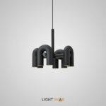 Дизайнерская светодиодная люстра Fanny 8 ламп. Цвет черный