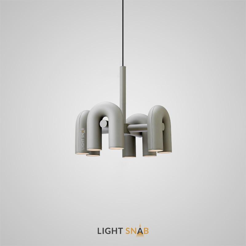 Дизайнерская светодиодная люстра Fanny 8 ламп. Цвет серый