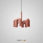 Дизайнерская светодиодная люстра Fanny 8 ламп. Цвет розовый