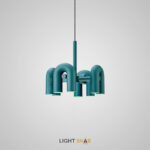 Дизайнерская светодиодная люстра Fanny 8 ламп. Цвет зеленый