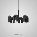 Дизайнерская светодиодная люстра Fanny 12 ламп. Цвет черный