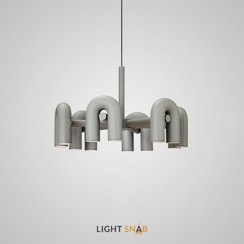 Дизайнерская светодиодная люстра Fanny 12 ламп. Цвет серый