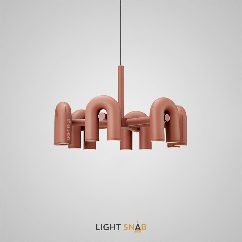 Дизайнерская светодиодная люстра Fanny 12 ламп. Цвет розовый