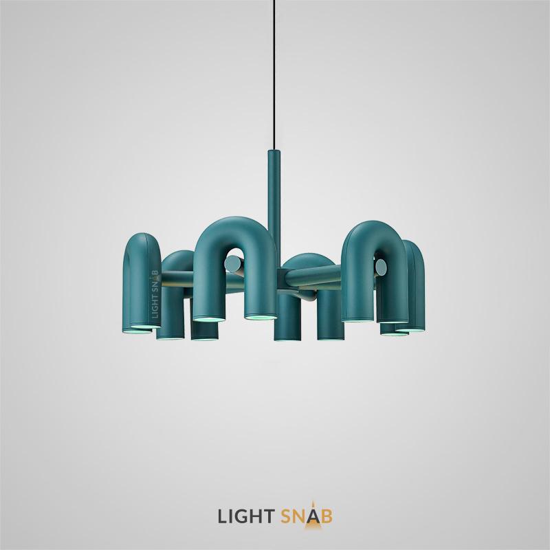 Дизайнерская светодиодная люстра Fanny 12 ламп. Цвет зеленый