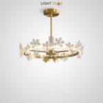 Люстра Florentina с двумя поворотными цилиндрическими плафонами и хрустальными цветами на кольцевом каркасе с LED-свечением