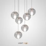 Подвесной светильник Fresh с цилиндрическим плафоном внутри двух стеклянных полусфер