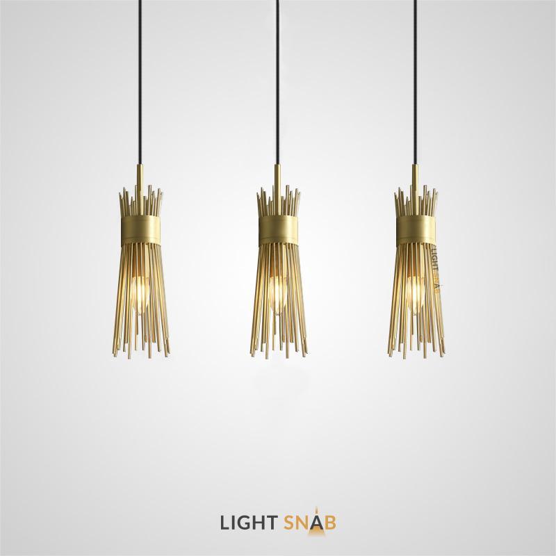 Дизайнерский подвесной светильник Gisken с латунным абажуром в виде пучка металлических прутьев