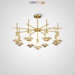 Светодиодная люстра Glasgow Ch на лучевом каркасе с цилиндрическими плафонами и кристальными рассеивателями в форме бриллиантов