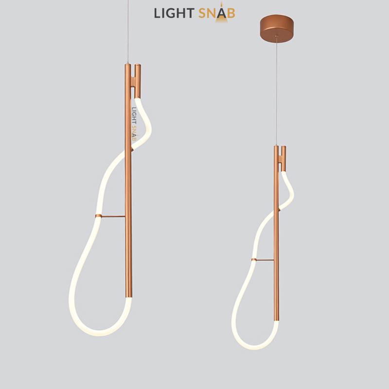 Подвесной светильник Glorify Pink в виде комбинации вертикального металлического стержня и гибкого светодиодного шнура
