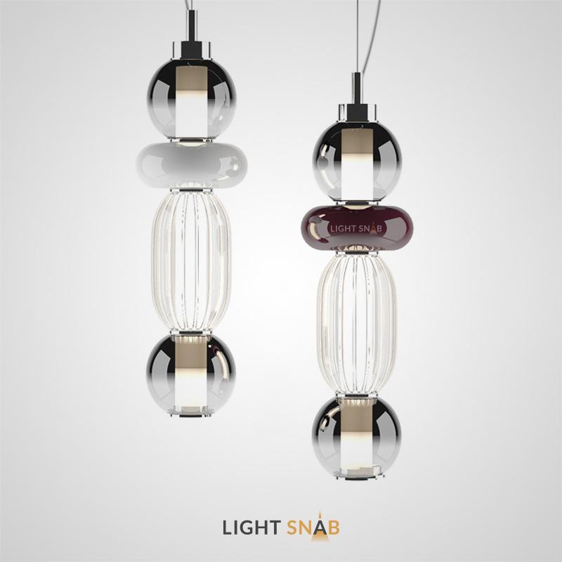 Подвесной светодиодный светильник Hamel из вертикально расположенных стеклянных плафонов разного цвета и фактуры