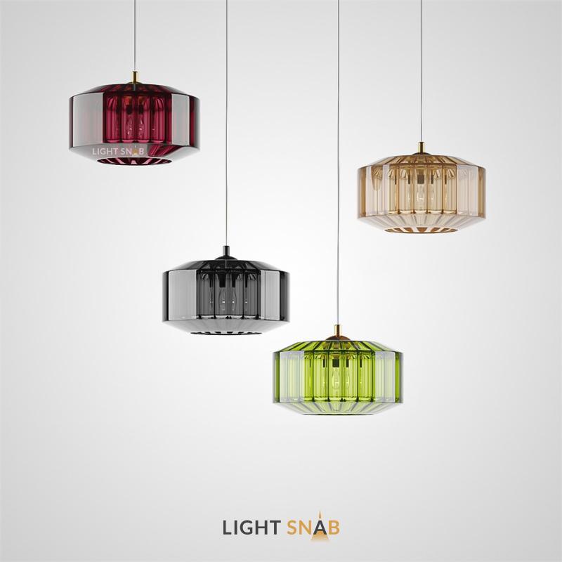 Подвесной светильник Harzard One из цветного стекла в форме усеченного цилиндра с рельефным рисунком