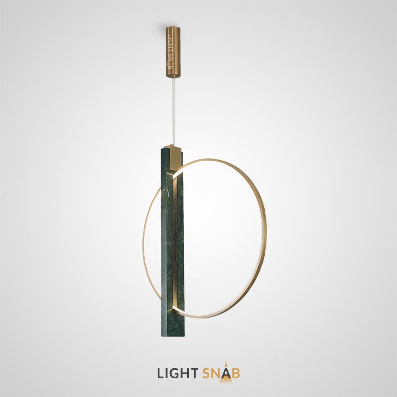Дизайнерский подвесной светильник Horizon в виде комбинации светодиодного кольца и слитка из зеленого мрамора