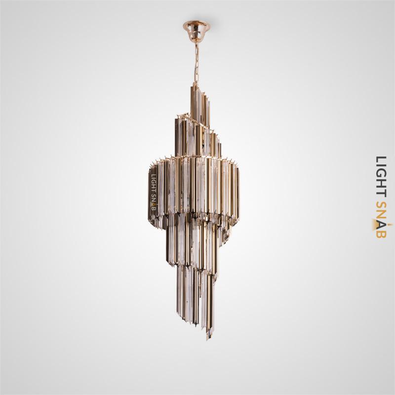 Люстра Impers Croiss со спиралевидным многоярусным абажуром из свободно свисающих декоративных элементов из натурального хрусталя