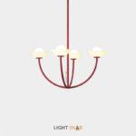 Люстра Inelda 4 лампы. Цвет красный