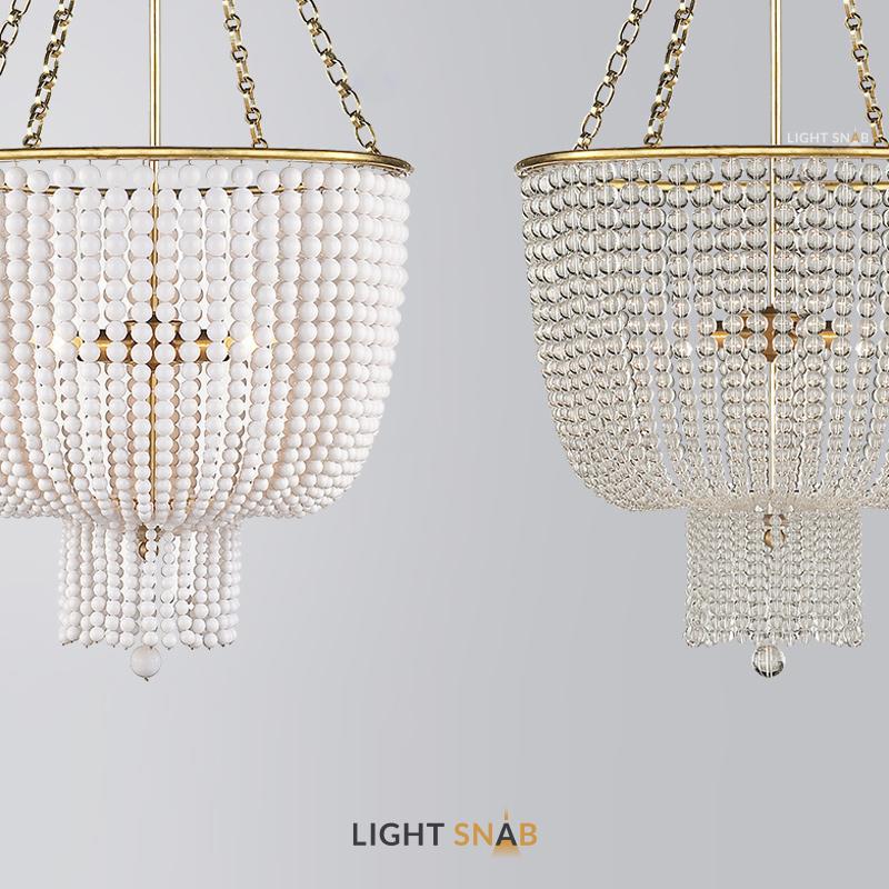 Дизайнерская люстра Ivonna  с абажуром из кристальных или керамических бусин разного диаметра