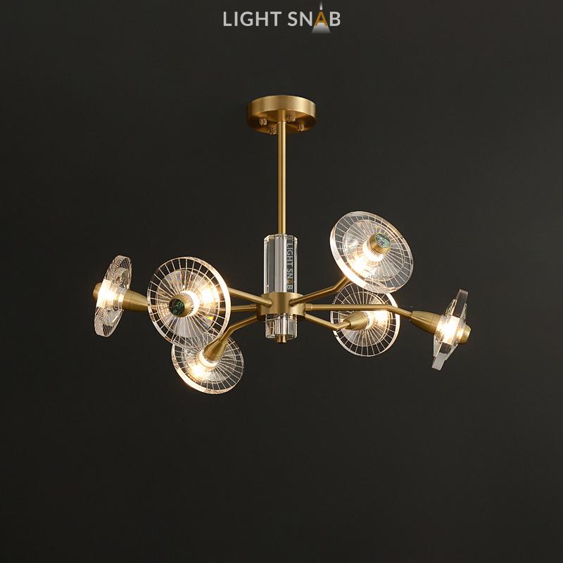 Дизайнерская люстра Janica 6 ламп. Цвет латунь