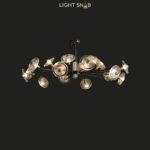 Дизайнерская люстра Janica 18 ламп. Цвет черный + латунь