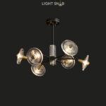Дизайнерская люстра Janica 6 ламп. Цвет черный + латунь