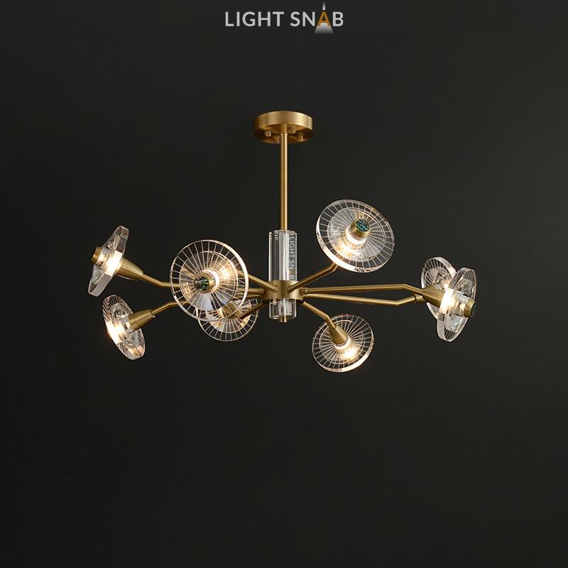 Дизайнерская люстра Janica 8 ламп. Цвет латунь