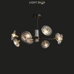 Дизайнерская люстра Janica 8 ламп. Цвет черный + латунь