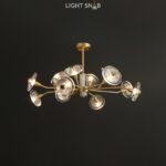 Дизайнерская люстра Janica 12 ламп. Цвет латунь
